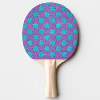 紫色の革プリントのターコイズの水玉模様 卓球ラケット