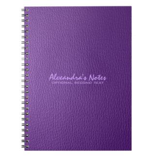 紫色の革質の一見 ノートブック
