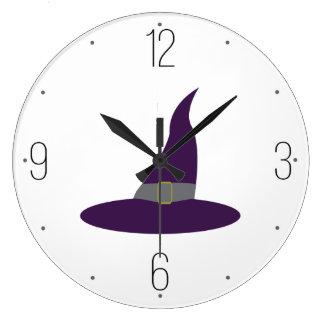 紫色の魔法使いの帽子ハロウィン ラージ壁時計