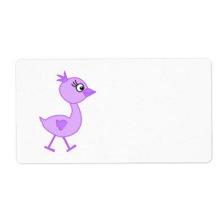 紫色の鳥、散歩しているかわいい鳥。 ラベル