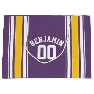 紫色の黄色いジャージーのストライプな名前をカスタムする数 ラージペーパーバッグ