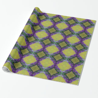 紫色の黄色いタイルパターン ラッピングペーパー