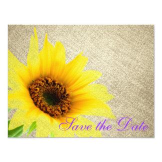 紫色の黄色いバーラップの国のヒマワリの花柄 カード