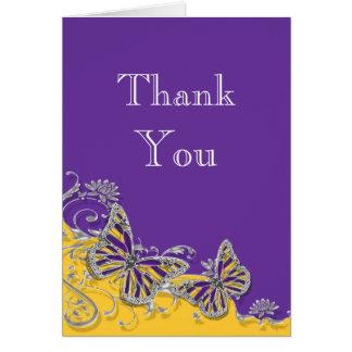 紫色の黄色い蝶結婚式の婚約 ノートカード