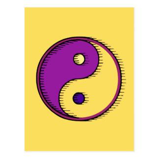 紫色の黄色い風に吹かれた陰陽 ポストカード