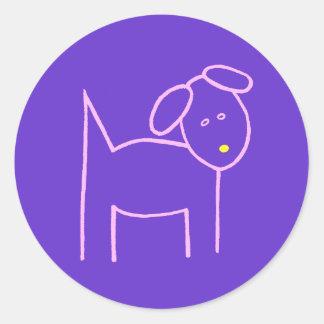 紫色の黄色い鼻を持つピンク犬 ラウンドシール