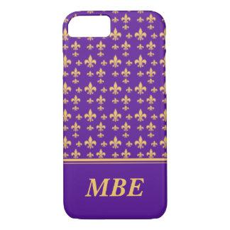 紫色の黄色い(紋章の)フラ・ダ・リのiPhone 7 iPhone 8/7ケース