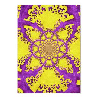 紫色の黄色く熱狂するなパターンフラクタルの芸術 カード