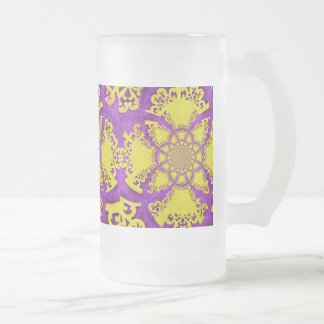 紫色の黄色く熱狂するなパターンフラクタルの芸術 フロストグラスビールジョッキ