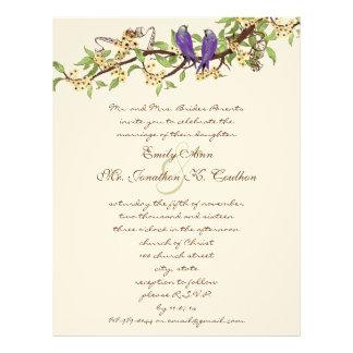 紫色の黄色く素朴な愛鳥の結婚式招待状 レターヘッド