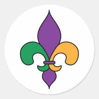 紫色の黄色緑の謝肉祭の(紋章の)フラ・ダ・リ ラウンドシール