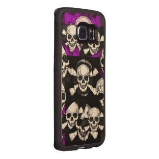 紫色の黒いスカルの金属 ウッドケース