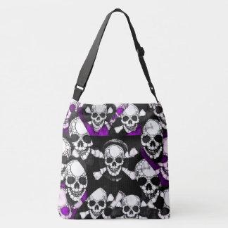 紫色の黒いスカルの金属 クロスボディトートバッグ