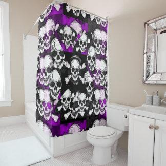 紫色の黒いスカルの金属 シャワーカーテン