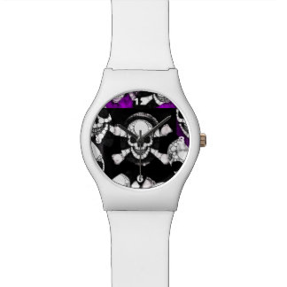 紫色の黒いスカルの金属 腕時計