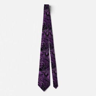 紫色の黒いヒマワリのタイ カスタムネクタイ