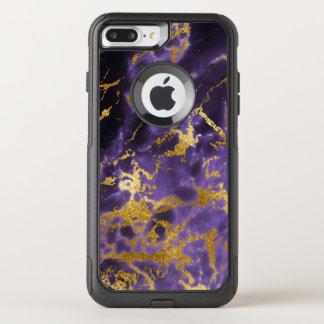 紫色の黒い大理石の模造のな金ゴールドのグリッターパターン オッターボックスコミューターiPhone 8 PLUS/7 PLUSケース