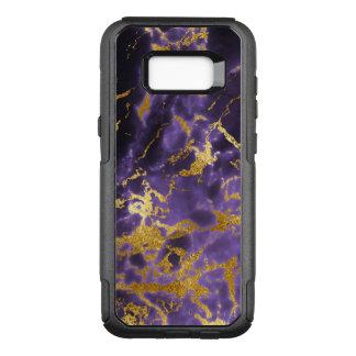 紫色の黒い大理石の模造のな金ゴールドのグリッターパターン オッターボックスコミューターSamsung GALAXY S8+ ケース