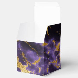 紫色の黒い大理石の模造のな金ゴールドのグリッターパターン フェイバーボックス