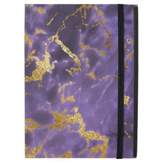 """紫色の黒い大理石の模造のな金ゴールドのグリッターパターン iPad PRO 12.9"""" ケース"""