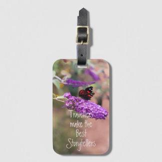 紫色の黒い蝶写真 ラゲッジタグ
