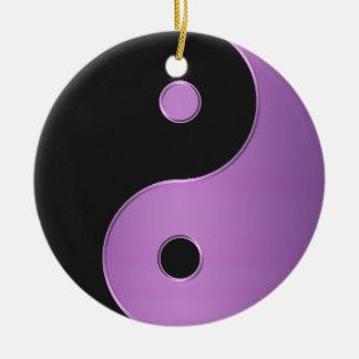 紫色の黒い陰陽の調和の休日のオーナメント セラミックオーナメント