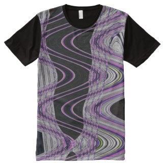 紫色の黒くモダンな抽象芸術 オールオーバープリントT シャツ