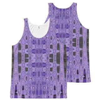 紫色の黒の抽象芸術 オールオーバープリントタンクトップ