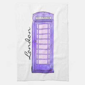 紫色の-イギリスの公衆電話ボックス-ロンドン-ふきん お手拭タオル