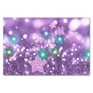 紫色の《写真》ぼけ味の模造のなグリッター及びカラフルで輝くな星 薄葉紙