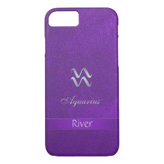紫色の(占星術の)十二宮図の印のアクエリアスのiPhone 7の箱 iPhone 8/7ケース