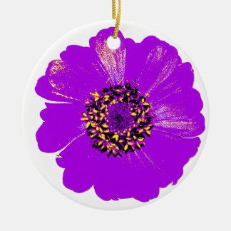 紫色の《植物》百日草の花 陶器製丸型オーナメント