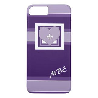 紫色の(紋章の)フラ・ダ・リのハート iPhone 8 PLUS/7 PLUSケース