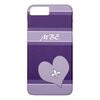 紫色の(紋章の)フラ・ダ・リはハートを傾けました iPhone 8 PLUS/7 PLUSケース