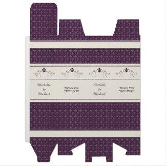 紫色の(紋章の)フラ・ダ・リスクロール名前入りなワイン箱 ワイン 化粧箱
