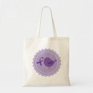 紫色のAlzheimersの鳥の認識度のトートのギフト トートバッグ