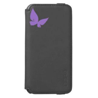 紫色のbutterflyBlackのIncipioのiPhone 6のウォレットケース iPhone 6/6sウォレットケース