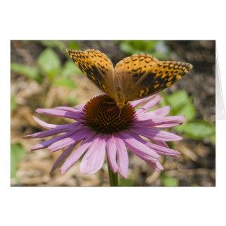 紫色のConeflowerの蝶 ノートカード