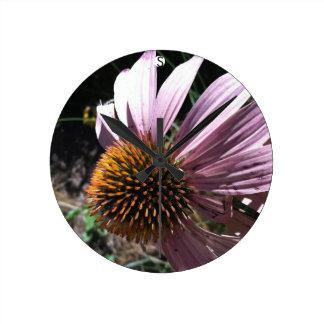 紫色のConeflower ラウンド壁時計