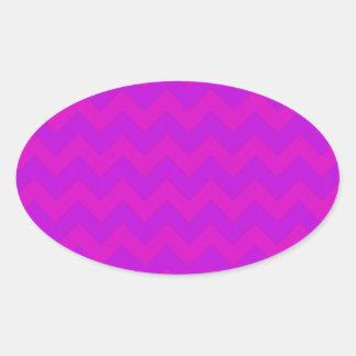 紫色のDarkPurpleシェブロン 楕円形シール