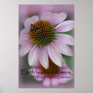 紫色のechinaceaのエマーソンの花の引用文 ポスター