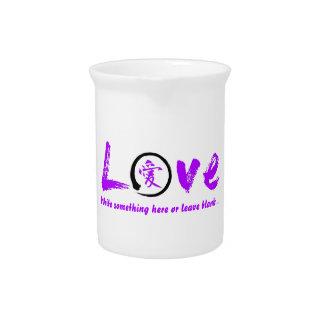 紫色のensoの禅の円、愛のための日本のな記号 ピッチャー