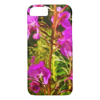 紫色のFireweedのアラスカの野生の花の抽象芸術 iPhone 8/7ケース