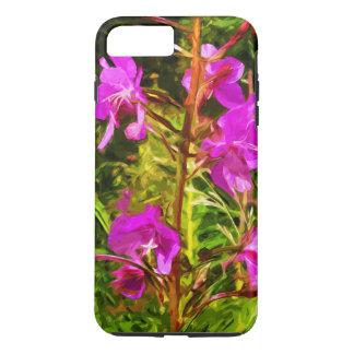 紫色のFireweedのアラスカの野生の花の抽象芸術 iPhone 8 Plus/7 Plusケース