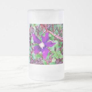 紫色のFower フロストグラスビールジョッキ