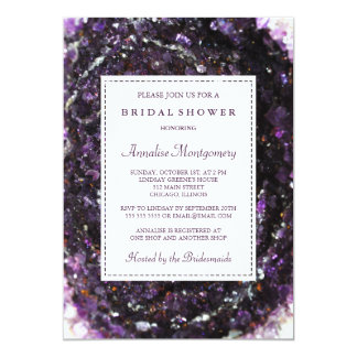 紫色のGeodeの紫色のブライダルシャワーの招待状 カード