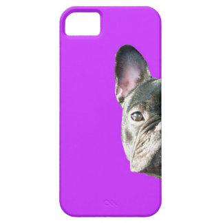 」紫色のIphone 5の場合をかいま見ているフレンチ・ブルドッグ「 iPhone SE/5/5s ケース
