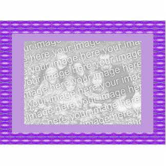 紫色のpatterm 写真彫刻(台付き)