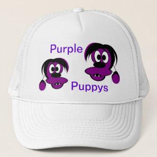 紫色のpuppys キャップ