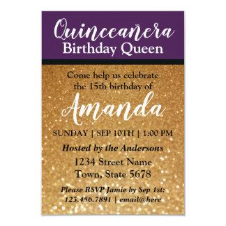 紫色のQuinceañeraの誕生日の招待状のおもしろいのグリッター カード